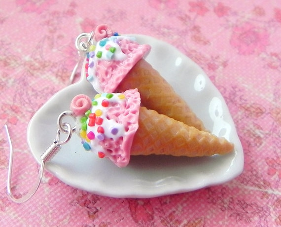 Rose ice cream cone earrings