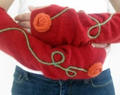 Red Cashmere Fingerless Gloves with Knit Orange Rosette and Winding Green Embroidered Stem