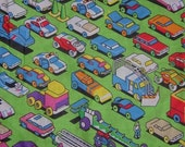 Traffic Jam, Toy Cars, Airplane Cotton Fabric 1 YD x 44 Inch