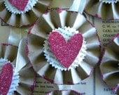 Valentine Tags - Glitter Heart Tags - Vintage Style Valentine - Medallion Tags