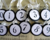 Glittered Number Tags ... set of 10
