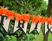 Trick or Treat Halloween Banner - Vintage Style Halloween - Halloween Decor - Orange and Black