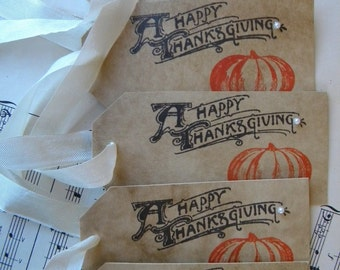 Happy Thanksgiving Tags - Thanksgiving Decor - Pumpkin tags - Thanksgiving Tags