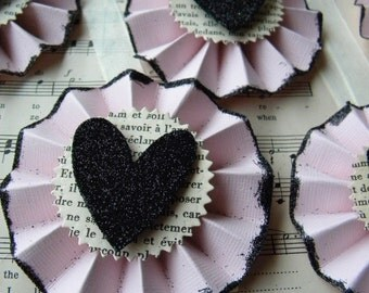 Heart Rosette Tags - pink and black - paper medallions - glitter heart
