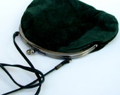 80s Green Suede Purse with Kisslock