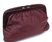 Italian Leather Clutch in Pomegranate