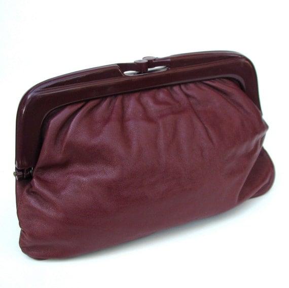 Italian Leather Clutch in Pomegranate