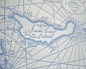 Channel Islands, Lettepress printed Map (Blue)