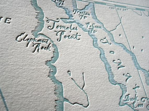 Point Reyes Seashore, Letterpress printed Map (Aqua)
