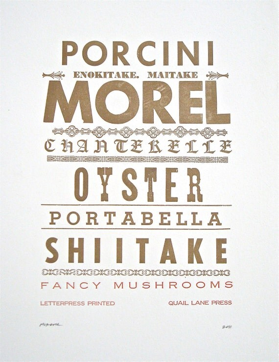 Fancy Mushrooms, Epicurean Letterpress Broadside