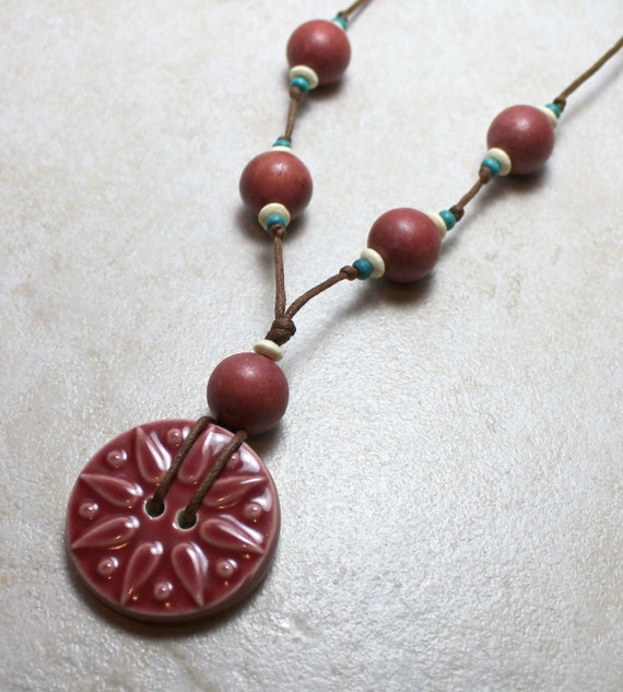 SALE  Nursing Necklace in Soft Red with Wooden Beads Breastfeeding Baby Wearing