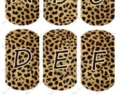 Leopard Brown Dog Tag Crafting and Scrapbooking  Alphabet - Digital