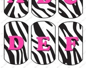 Digital Zebra Pink Dog Tag Alphabet for Crafting and Scrapbooking