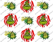 The Grinch Who Stole Christmas Bottlecap Image Collage for Crafting and Scrapbooking