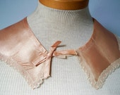 Unused Vintage Handmade 8 Edged Rayon and Lace Flesh Collar with Bow
