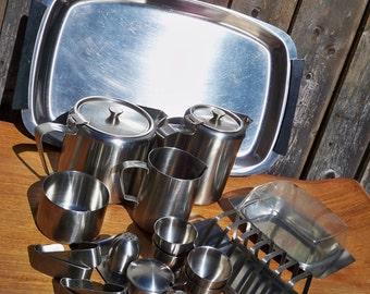Huge Vintage Stainless Steel Breakfast Set, Danish and British Made