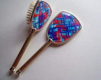 Vintage Brush and Mirror - Funky Retro 1960s/70s Fabric Backed Set