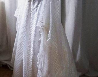 Original Vintage 1970's White Wedding Gown In Original Box By Rhonda of Liverpool - Medieval Waterfall Sleeves