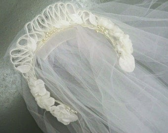 Vintage 1970s Double Layer Wedding headdress and veil - 8ft long