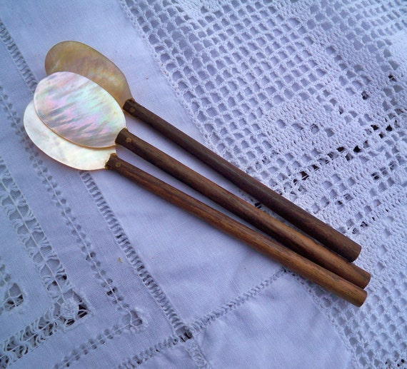 Antique Wood & Mother-of-Pearl Spoon
