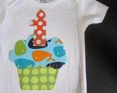 Birthday boy whale cupcake onesie, zoology birthday