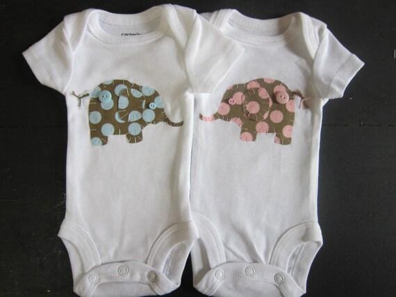 Elephant Onesies Elephant Twins Boy Girl Girls Twin Shirts