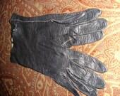 Womens steampunk\/dark\/noir\/gothic black kidskin gloves