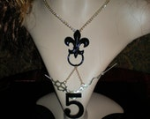 Steampunk fleur de lis clock hand necklace/gothic/dark noir