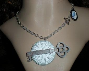 POE meets ALICE in wonderland gothic\/steampunk\/dark noir\/fantasty clock and key necklace