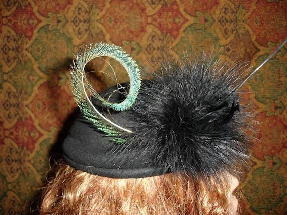 Vintage movie starlet felt steampunk/gotihc\dark/romance hat