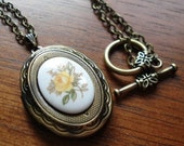 Locket Necklace -- Yellow Rose Glass Cameo on Antiqued Brass -- When the Roses Bloom