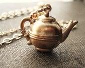 Tea Pot Necklace, Vintage Brass Teapot Charm, Pendant Necklace, Whimsical Jewelry, Coffee Pot, Food Necklace