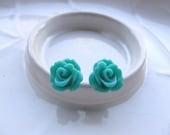Turquoise Rose Earrings,Teal Flowers on Stainless Steel Posts, Stud Earrings, Rose Jewelry
