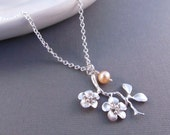 Cherry Blossom Necklace, Silver Branch with Freshwater Pearl, Pendant Necklace, Sakura Necklace, Bridesmaid Necklace, Flower Girl Jewelry