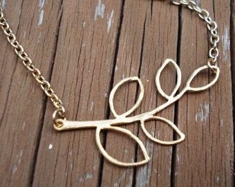 Branch Necklace, Gold Leaf Pendant, Minimal Necklace, Pendant Necklace, Fall Jewelry, Autumn Necklace, Woodland Forest