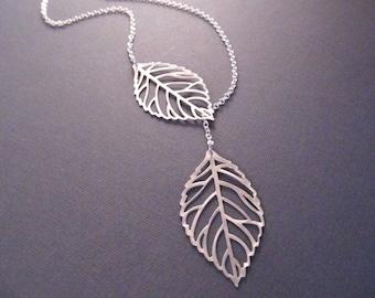 Leaf Lariat Necklace, Silver Leaves Lariat, Bridesmaid Necklace, Lariat Necklace, Nature Jewelry, Modern Jewelry, Leaf Skeleton Necklace