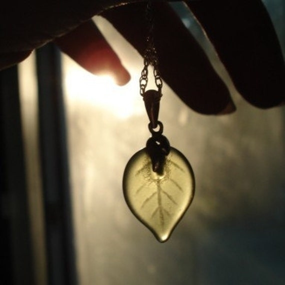 The Leaves of Lorien -- A Vintage Glass Leaf Charm Necklace in Sterling Silver -- You Choose Leaf Color