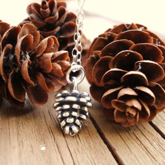 Pine Cone Necklace, Sterling Silver Charm and Chain, Pinecone, Pendant Necklace,  Autumn, Fall Jewelry