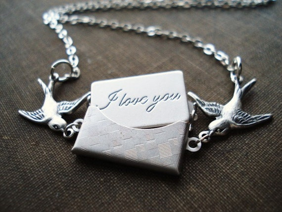 Love Letter Necklace, Silver Birds with Envelope and Secret Message,  Pendant Necklace, Wedding Gift,  Romantic Jewelry, Valentines Day