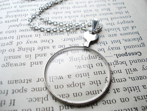 Monocle Necklace, Vintage Silver Optical Lens on Long Chain, Steampunk, Pendant Necklace, Costume Jewelry