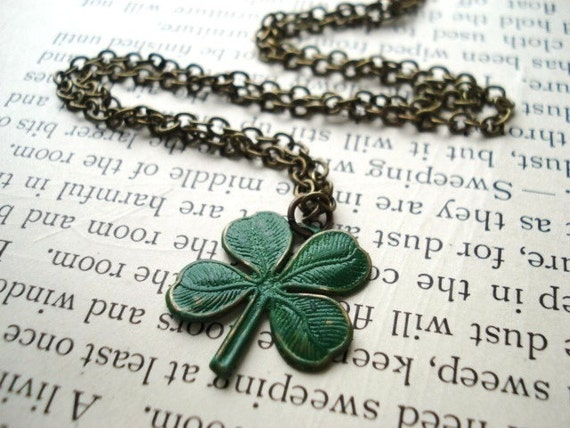 SALE, was 15, Last One -- Luck o' the Irish Necklace -- Green Clover Charm on Antiqued Brass