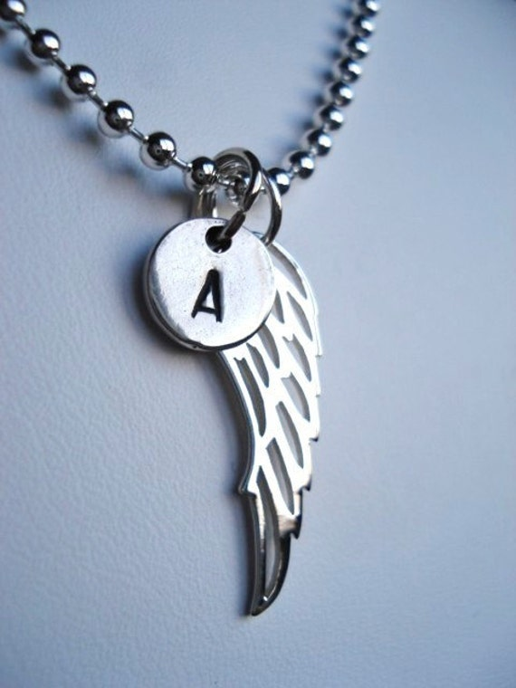 Wing Necklace -- Sterling Silver with Custom Initial Charm -- Always With You
