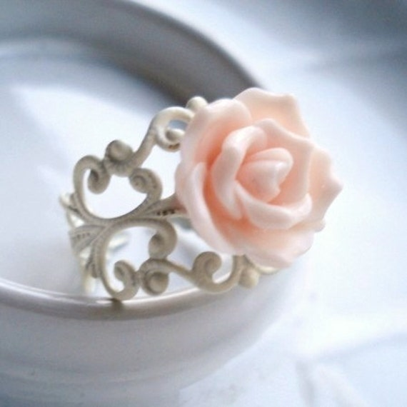 Rose Ring, Pink on Adjustable White Filigree, Flower Jewelry, Adjustable Ring, Gift for Her