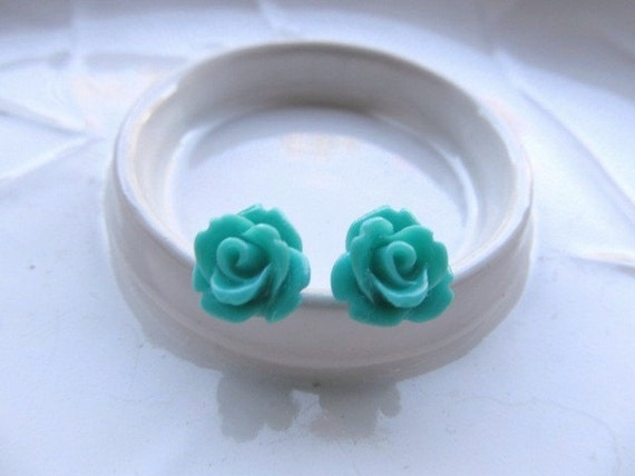 Turquoise Rose Earrings,Teal Flowers on Stainless Steel Posts, Stud Earrings, Rose Jewelry