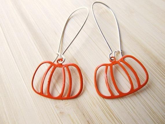Pumpkin Earrings, Orange Filigree on Long Ear Wires, Dangle Earrings, Fall, Halloween Jewelry