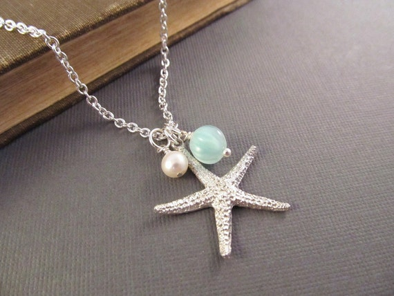 Starfish Necklace, Silver Sea Star with Pearl and Seafoam Dangle, Sea Star Jewelry, Beach Wedding, Bridesmaid Gift, Summer Jewelry
