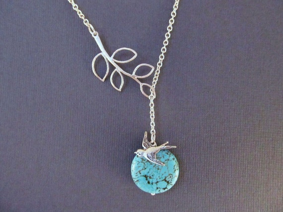 Bird and Branch Necklace, Silver and Turquoise Lariat, Blue Moon, Everyday Jewelry, Lariat Necklace