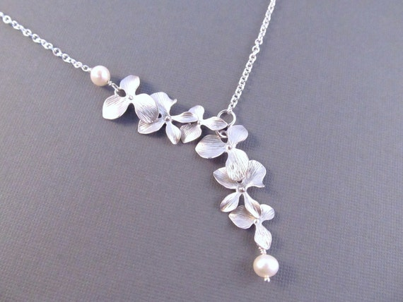 Bridesmaid Necklace, Silver Orchid Flowers with Freshwater Pearls, Bridal, Wedding Jewelry, Lariat Style Necklace