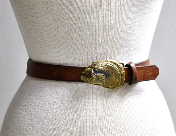 Oyster Shell Leather & Brass Belt