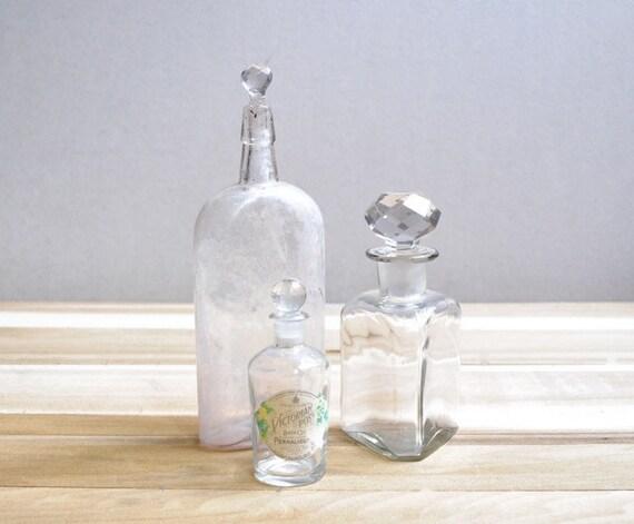 Vintage Glass Stopper Bottles